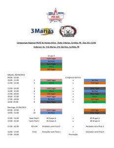 Tabela de jogos do Campeonato Paranaense de Hockey Inline 2013